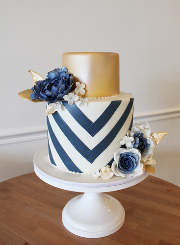 Navy Blue and Gold Chevrons Wedding Cake with Sugar Flowers