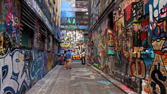 Melbourne Street Art (Chandana Witharanage) Tags: australia melbourne victoria streetart graffiti artworks painting colours colors interest laneway perspective path people paintingonalls hoiserlane lighting composition pov atmosphere framing mood popular tourist tourists travel traveling experssions leadingline walking streetshot candid streetscene alley beautiful