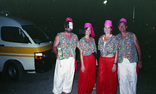 Willie, Deb, Kaye, and Bill get ready to do Monday Night Mas in Trinidad Carnival