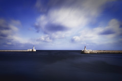 Guardians of the Sea (whitelfc) Tags: valletta malta maltaphotography harbour blues longexposure longshutter clouds sea guardians lighthouse