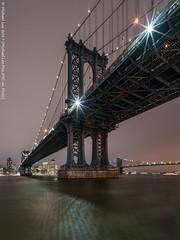 Under the Manhattan Bridge (20170210-DSC04344-Edit) (Michael.Lee.Pics.NYC) Tags: newyork manhattanbridge eastriver southstreet fdrdrive esplanade brooklynbridge dumbo night longexposure cloudy architecture cityscape sony a7rm2 voigtlanderheliar15mmf45