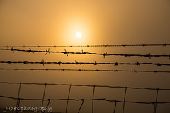 Fenced In......... (judethedude73) Tags: sunset photography orange dusk evening fog mist downs south sussex wire wired