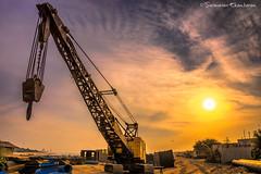 Sunrise - Ennore (Saravanan Ekambaram) Tags: sun india beach yellow sunrise dawn crane madras chennai tamilnadu ennore thalankuppam katthivakkam