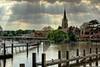 English Sunshine (Lumenoid) Tags: bridge england church thames clouds river postcard steeple suspensionbridge idyllic marlow sunbeams springtime weir bestcapturesaoi