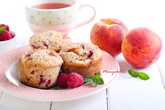 Peach melba cakes (manyakotic) Tags: food cakes cup fruit breakfast dessert muffins tea sweet many peach homemade snack pastry brunch raspberry treat melba baked