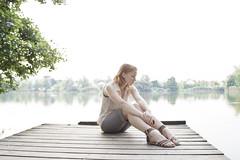 The Wait. [4/52] (Anja Horvat) Tags: portrait lake girl self redhead slovenia ljubljana bajer koseki
