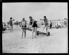 Kids on Beach (gordon_morales) Tags: girls beach glass kids plate negative