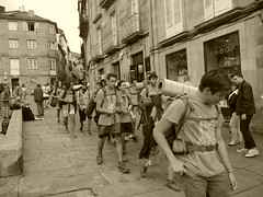 Group of pilgrims, Sant de Compostela!