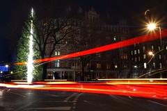 Christmas phantoms (Westhamwolf) Tags: christmas night tree light trails london england connaught hotel anthony gormley