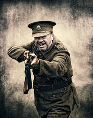 Dads Army (barksworld) Tags: homeguard male uniform rifle costume textures gritty cap badges ww2 enactment oldman
