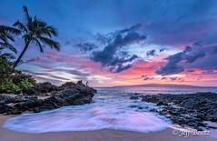 SBeach (1 of 1) (Jeff Bentz Photography) Tags: waves redsky lanai fisherman sky palmtree hawaii secretbeach maui sunset beach