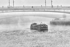 Fog on the Seine at Rouen (alcowp) Tags: winter bridges blackandwhite monochrome normandie normandy mist fog weather barge péniche seine river rouen france