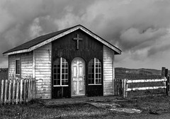 Deserted chapel (docoverachiever) Tags: california crescentcity building derelict pointstgeorge cloudy blackandwhite rustic chapel