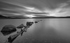 Disappear (avaird44) Tags: lochindorb highland scotland logexposure 10stop water loch sky stepping stones trunk wood bw