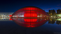 The Red Eye. [Explored & FP 01-03-2017] (dasanes77) Tags: canoneos6d canonef1635mmf4lisusm tripod landscape seascape cloudscape waterscape reflections shadows naturallight architecture valencia cityofartandsciences hemisferic