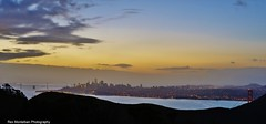Sunrise San Francisco with the tip of the Golden Gate Bridge showing (Rex Montalban Photography) Tags: rexmontalbanphotography sanfrancisco marinheadlands sunrise stitchedpanorama