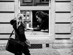 Oops! (SibretManu) Tags: streetphotography luxembourg portrait street black white bw noir et blanc monochrome candid going moments decisive moment creative commons flickr flickriver explore eyed eye scene strassenfotografie fotografie city square squareformat photography bwartaward