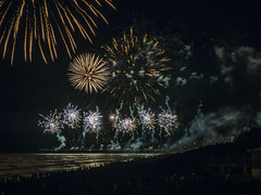 Bang, Bang (Steve Taylor (Photography)) Tags: fun newzealand nz southisland canterbury christchurch newbrighton beach ocean pacific pier sea people night 5 5th bonfire crowd guyfawkes november smoke fireworks explosion bangbang
