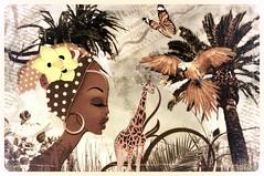Joy of Africa (Swissrock-II) Tags: deviantart challenge flower africa photoshop photoart digitalart art photomanipulation palm tree 2017 giraffe bird woman grass texture brushes