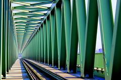 toward the horizon...Budapest (claredlgm1) Tags: green lines horizon metal iron abstract repeating contrast colorful shadows light bridge
