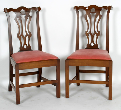 8 Walnut Chippendale Style Dining Chairs ($660.00)