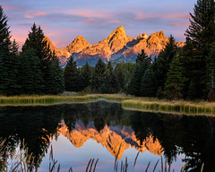 Sunrise at Schwabacher's Landing (Ms Stacy) Tags: grandtetonnationalpark wyoming mountains sunrise lake reflection mirror water