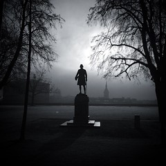 Day breaks (Time.Captured.) Tags: denkmal gegenlicht baum morgenstimmung tree bern statue bäume himmel winter silhouette fog squareformat 11 bundeshaus