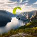Paraglider flying over Aurlandfjord, Norway