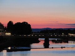 (SofiDofi) Tags: travel pink sunset people italy reflection beautiful night river lights evening florence europa europe italia may silhouettes adventure tuscany firenze traveling arno toscana walkinghome ilovethiscity timeofmylife beautifulcity italianadventure spring2015 twomonthsinitaly