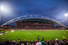 north harbour stadium (nzfisher) Tags: newzealand sports field night canon lights football arch audience stadium soccer auckland northshore match pitch nightsky 24mm spectator u20 northharbourstadium