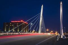Milwaukee Iron (olsonj) Tags: bridge night lights milwaukee bluehour cablestayed