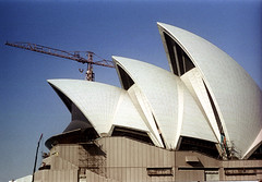 27-130 (ndpa / s. lundeen, archivist) Tags: city color building film architecture 35mm harbor construction scaffolding harbour crane nick sydney australian australia cranes nsw scaffold 1970s operahouse 27 1972 underconstruction sydneyharbour sydneyoperahouse dewolf oceania nickdewolf photographbynickdewolf reel27