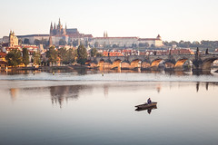 Prague morning (Tomas.Kral) Tags: city morning travel bridge panorama sunrise river fisherman europe republic czech prague charles praha vltava praguecastle msto hlavn czechphotography duskphoto czechphoto praguephoto igerscz lifestalking