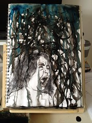 """""""Tears of Infancy"""" (sketchy_scribble) Tags: blue baby black art water girl rain ink sketchy painting book sketch paint tears artist child mason crying brush doodle seven mascara 16 draw coursework scribble waterproof gcse infancy sketchyscribble"""