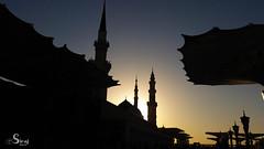 The Green Dome Sunrise (siraj_alquraish) Tags: islam mosque mohammed medina saudiarabia prophet    annabawi  mohammeds almasjid almadinahprovince