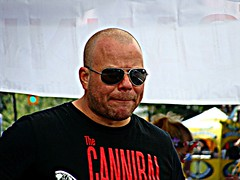 The Cannibal (knightbefore_99) Tags: street party summer sun car sunglasses vancouver cool day burger bald free sunny commercialdrive eastvan cannibal italianday