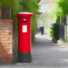 The Red Postbox (Lemon~art) Tags: red postbox bright corner wall trees woman sunshine manipulation post letter