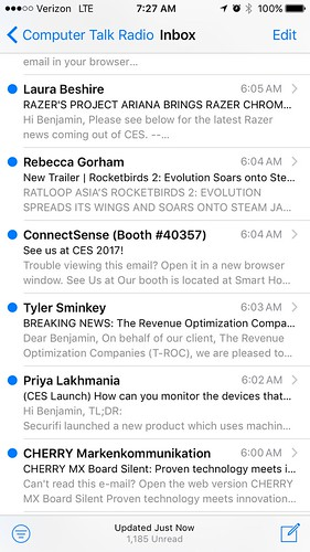 My entire inbox looks much like this.   The #CES2017 marathon includes an onslaught on our email as much as our senses.