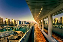 Top Deck (Light+Shade [spcandler.zenfolio.com]) Tags: ©stephencandlerphotography spcandler stephencandlerphotography httpspcandlerzenfoliocom stephencandler gibraltar lightshade sunborn ship hotel topdeck marina reflections buildings boats europe fisheye wideangle