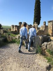 Two park staff walking in ruins of Volubilis, Morocco (Paul McClure DC) Tags: people morocco almaghrib fèsmeknèsregion volubilis jan2017 roman architecture historic