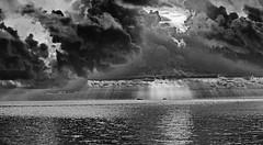 _40A4237 B & W (ChefeGrande) Tags: texas monochrome blackandwhite bw clouds storm rain boats fishingboat goldenhour sunrise seashore seaside sea landscape gulfcoast bay shrimpboats water sky sunrays