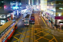 Hong Kong tramways (radimersky) Tags: hong kong 香港電車 tramways trams doubledecker piętrowe tramwaje noc ulica night street traffic ruch światła lights dmclx100 panasonic lumix micro four thirds 43 desvoeuxrdcentral miasto city island wyspa autobus bus outdoor cityscape 香港 transport road azja asia hongkong