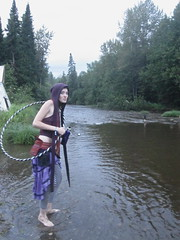Tiny Dancer (emilyborhi) Tags: fairy woman hippie psychedelic open mind festival outdoor forest hoop hooper psytrance muddy river path tipi spiritual music hood striped tights barefoot