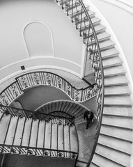 Escheresque (Douguerreotype) Tags: uk gb britain british england london bw mono monochrome blackandwhite stairs steps spiral helix city urban architecture building people