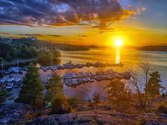 Sunset over Mälaren (Dale Michelsohn) Tags: mälaren water lake sea sweden stockholm sunset paint photoshop iphone apple colour color