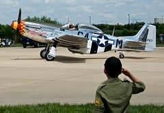 """A Boy Salutes P-51D Mustang """"Ain't Misbehavin'"""" (N51KB) As It Departs (scattered1) Tags: world history museum plane airplane army virginia smithsonian us democracy dc washington war europe day fighter force antique space aviation air center victory ve historic event worldwarii national ii corps va second mustang airforce hazy aint rangers arsenal misbehaving nationalairandspacemuseum flyover 70th warbird flyin eaa chantilly p51 udvar commemoration p51d smithsonianinstitution 70thanniversary northamerican 2015 veday aircorps udvarhazycenter victoryineurope victoryineuropeday misbehavin 415267 ww2flyover arsenalofdemocracyflyover flyintovictoryday"""