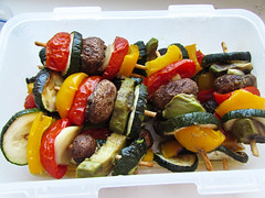 vegan skewer box (tarengil) Tags: food cooking kitchen vegetables tomato mushrooms pepper avocado vegan health vegetarian garlic veggie zucchini skewer