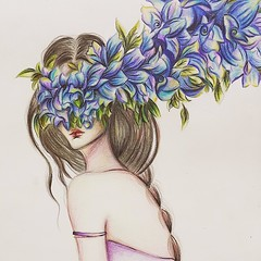 gir6f (lilac-girl90) Tags: flowers blue summer art floral girl beauty lady painting hair photography spring artwork acrylic photos iraq surreal drawings baghdad draw watercolors