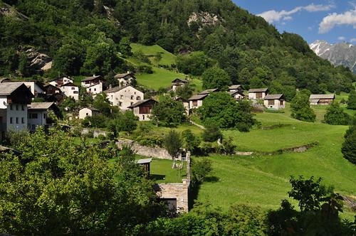 Village de Soglio, commune de Bregaglia, Val Bregaglia, district de Maloja, canton des Grisons, Suisse.