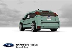 Ford Focus Zetec 3-Door (MkI - C170) (lego911) Tags: auto ford car model focus lego stuck render company 1998 motor hatch 72 challenge 1990s 90s revised cad lugnuts povray moc redo ldd miniland mki 3door c170 3dr lego911 stuckinthe90s cw170